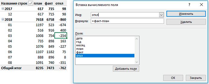 Вычисляемое поле в Excel